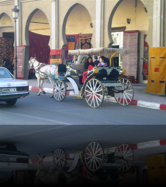 Nonostante il traffico delle automobili, ogni tanto si incontrano delle carrozze trainate da cavalli